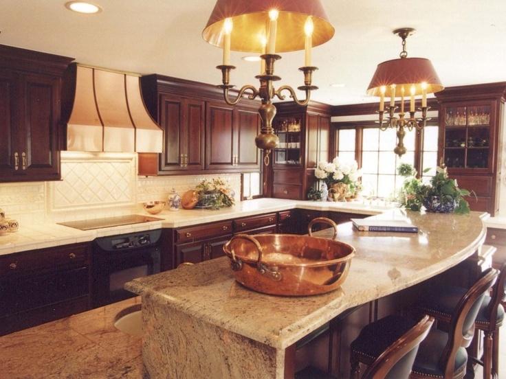 Upper Arlington Ohio Kitchen Custom Cherry Cabinets Granite Island Top Tile Countertops And