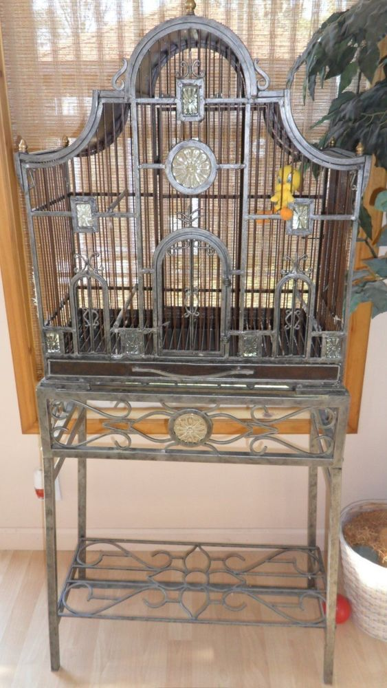 mid century modern living room olive green and cream ideas details about bird cage/planter stand heavy metal very ...