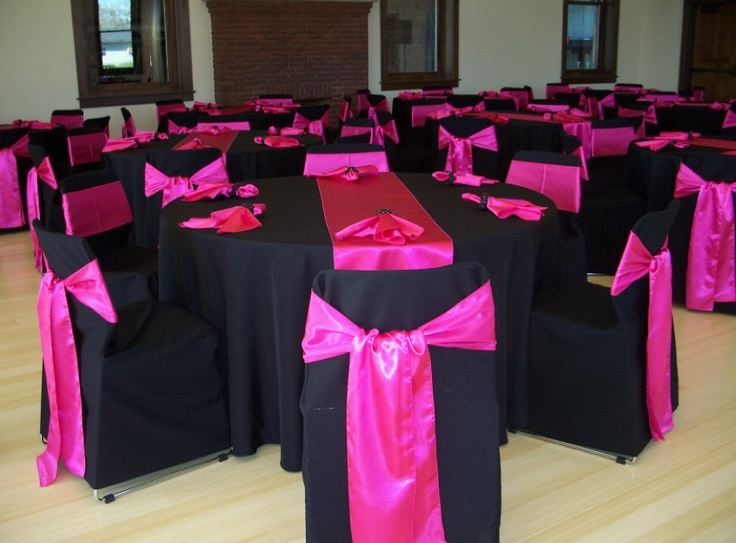 folding chair green bedroom accent ideas hot pink satin sashes and table runners over black solid polyester covers tablecloths ...