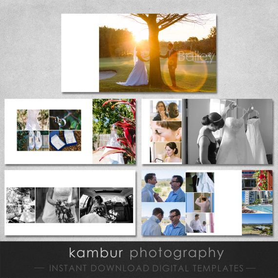 10X10 PSD 30 Pages Wedding Album Template 15 Spread