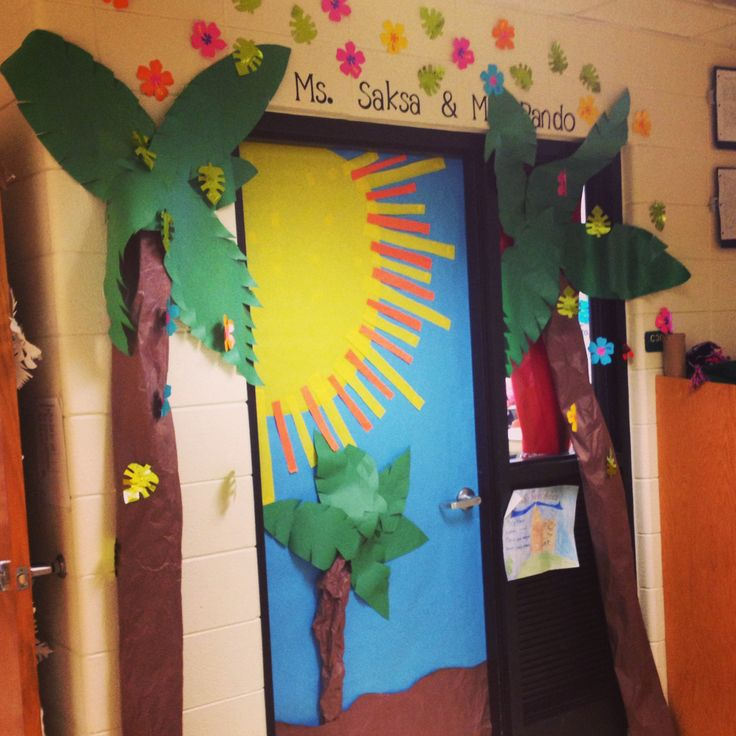 Tropical inspired Classroom door!