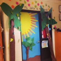 Tropical inspired Classroom door!