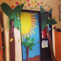 Tropical inspired Classroom door! | Classroom door ...