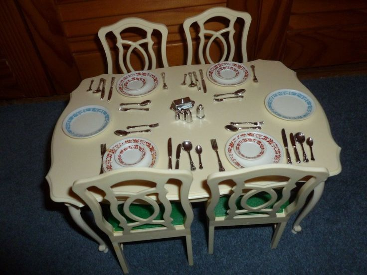 ebay used chairs wooden high vintage sindy doll dining room table & chairs(x4) with dinner service | pinterest ...