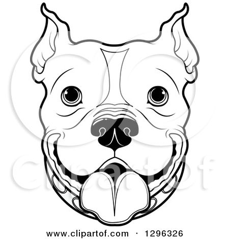 1296326-Clipart-Of-A-Black-And-White-Happy-Pitbull-Dog