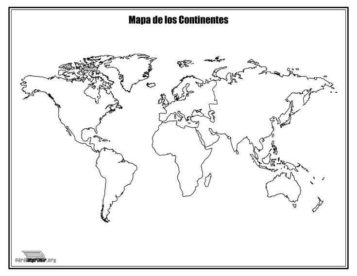 Mapa de los continentes sin nombres para colorear y para
