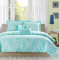 TWIN/TWIN XL Girls Teen Teal Blue White MODERN GEOMETRIC ...