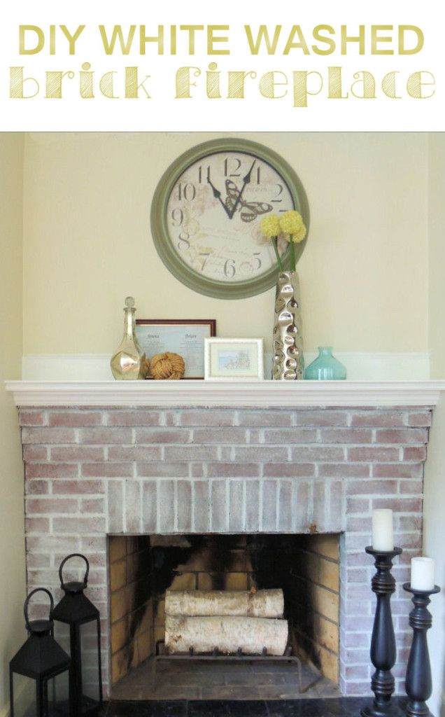 Painted Brick Fireplace The Power of Whitewash  Painted brick fireplaces Fireplaces and