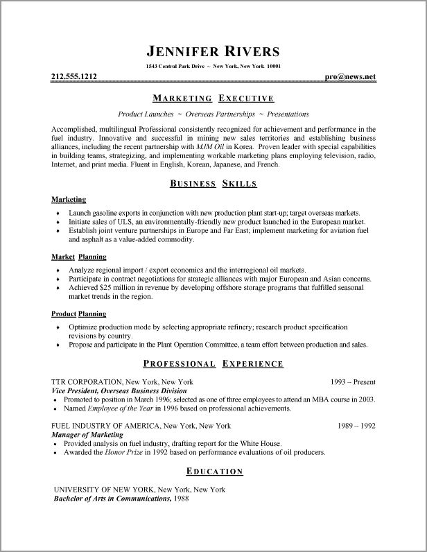 written resume examples - Examples Of Well Written Resumes