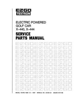 EZGO 22338G1 1986-1987 Service Parts Manual for Electric Golf Car by EZGO. $68.50. Used for 1986
