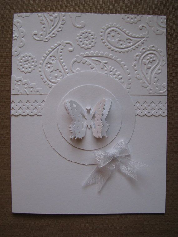Butterfly Embossed All White Handmade Greeting Card Tcf
