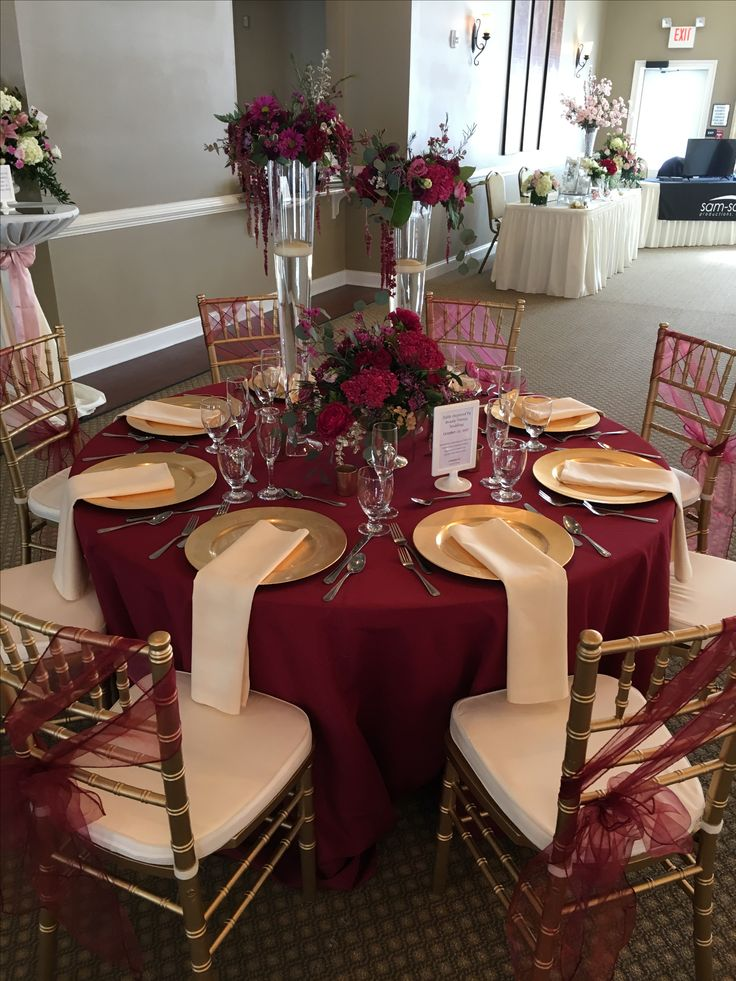 purple chair sashes for weddings velvet tufted this gorgeous table set up is filled with upgrades! floor length burgundy cloth, champagne ...