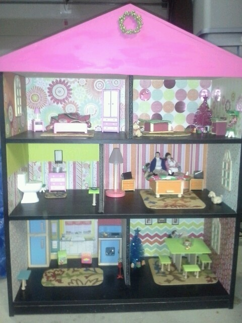 Homemade Dollhouse That I Made Using A Bookshelf