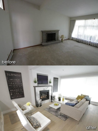 simple living room decorating photos rooms with dark hardwood floors property brothers before and after | hgtv ♡ ...