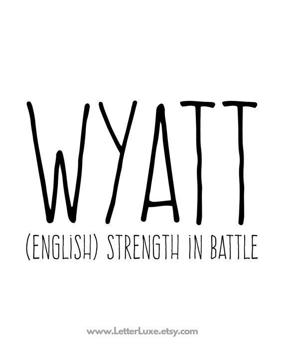 Wyatt Name Meaning Printable Nursery Art Baby by