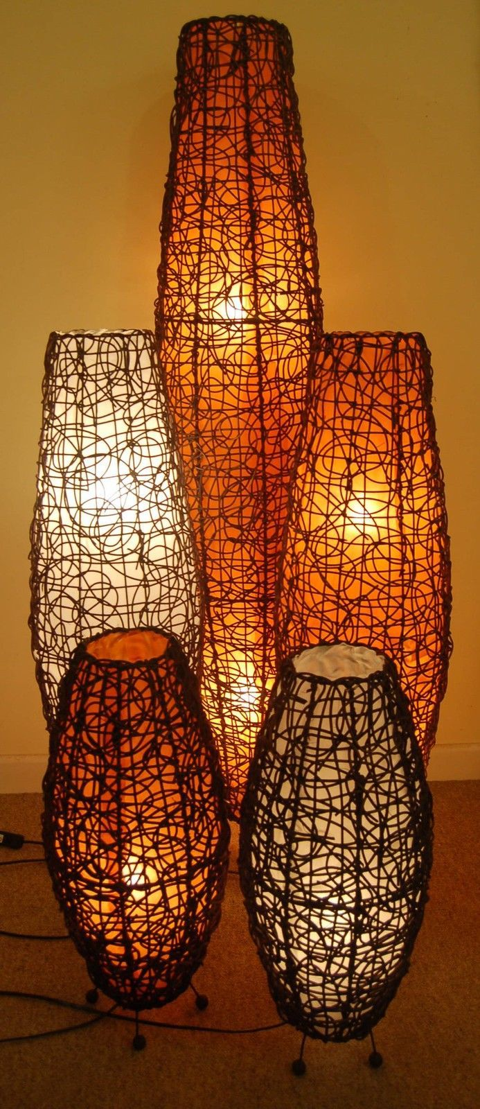 TableFloor Lamp Apollo Lamp With Rattan Handcrafted