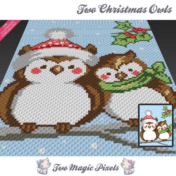 Two Christmas Owls c2c graph crochet pattern instant PDF