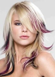 blonde and plum lowlights hairstyles