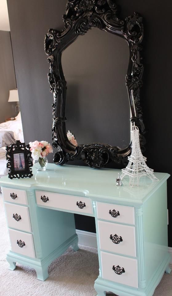 Stunning vanity with black chunky mirror. I would paint the dresser part all one color though (a brighter