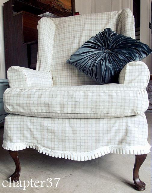 Slipcovering a wing back chair  Slipcovers  Pinterest