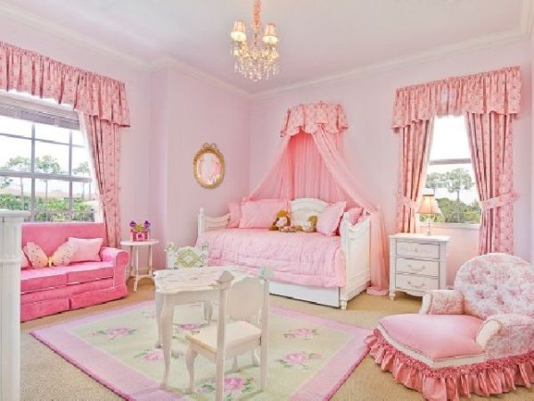 little girl princess bedroom ideas Sweet-color-themes-little-girl-princess-room-ideas-with-cute-sofa-and-armchair-with-tassel-and
