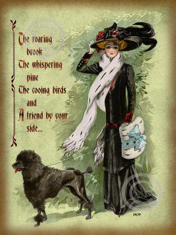 Victorian Lady With Poodle Dog Motto Print Friend By Your
