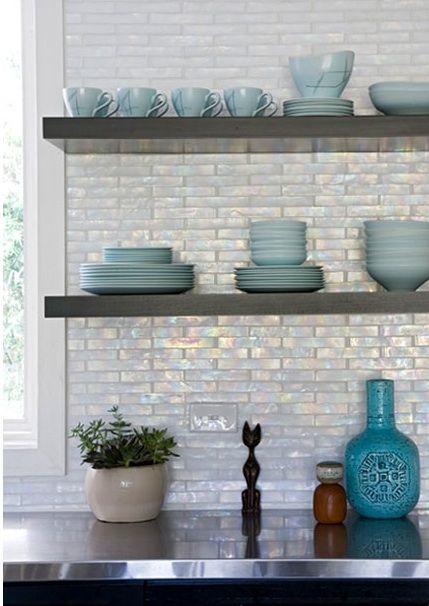 cabinet ideas for kitchens ninja mega complete kitchen system 1500 blender & food processor iridescent backsplash | ebony cabinets & floating shelves ...