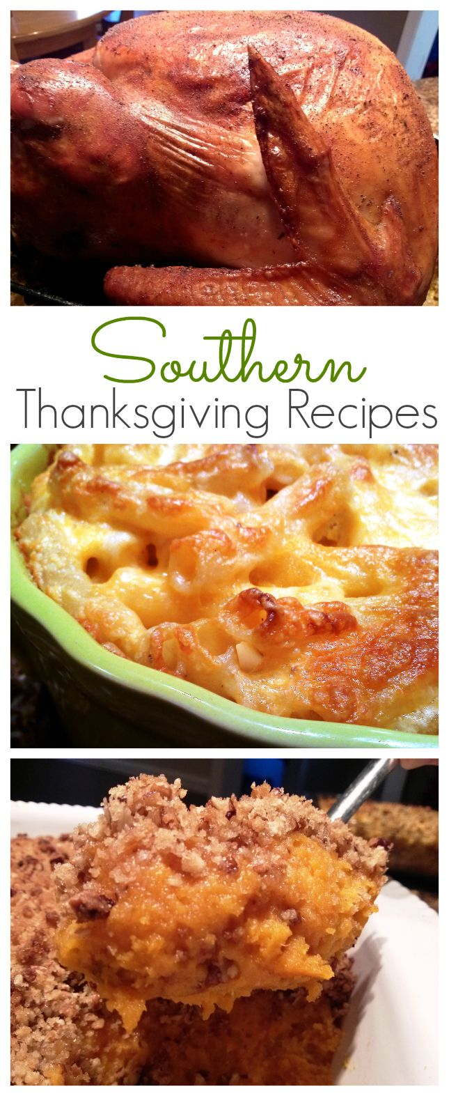 16 scratch-made Thanksgiving recipes including Jive Turkey, Cola-Cola Glazed Ham, Baked Macaroni & Cheese, Mama's Cornbread