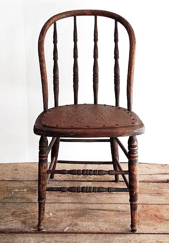 Primitive Antique Spindle Back Chair Urban Farmhouse