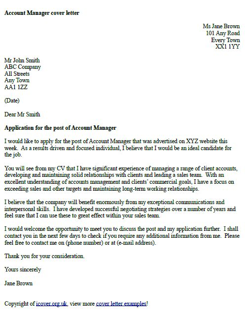 Example of speculative cover letter for cv