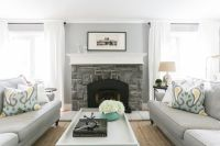 Gray Face to Face Sofas with Ikat Pillows, Transitional ...