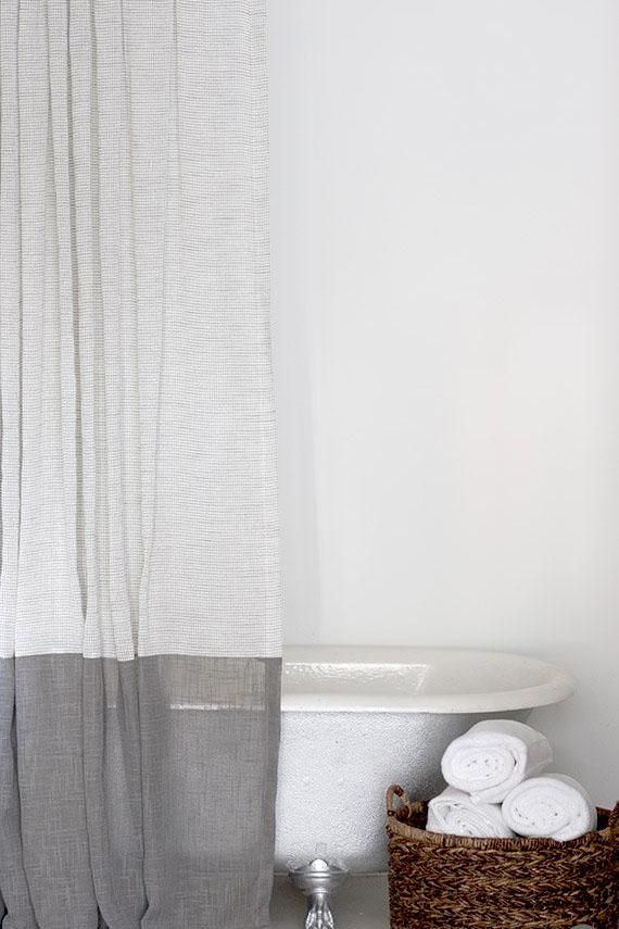 Grey And White Extra Long Fabric Shower Curtain With Large Grey Bottom Band Grey Fabrics And