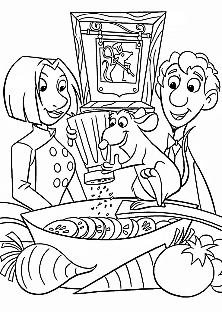 Ratatouille cooking coloring pages for kids, printable