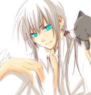 anime with white hair blue eyes