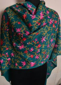 Kashmiri Embroidered Cashmere Shawl - Pashmina Golden ...