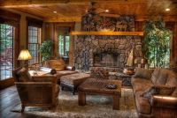 Beautiful log cabin living room with stone fireplace ...
