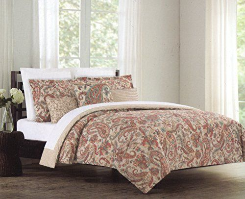 Nicole Miller Full Queen 3pc Duvet Cover Set Burgundy Blue Grey Taupe Orange Yellow Paisley