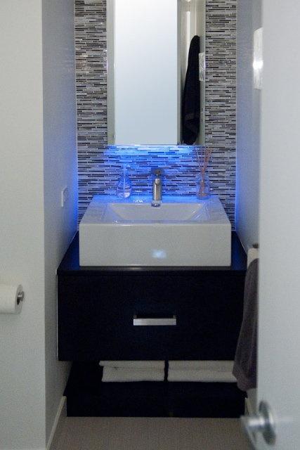 Blue LED Strip Light over sink httpwwwledlightstripcoukshopblueledtape87html