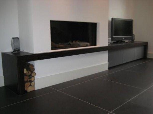 Tv meubel naast openhaard  Haard  Pinterest  Beste