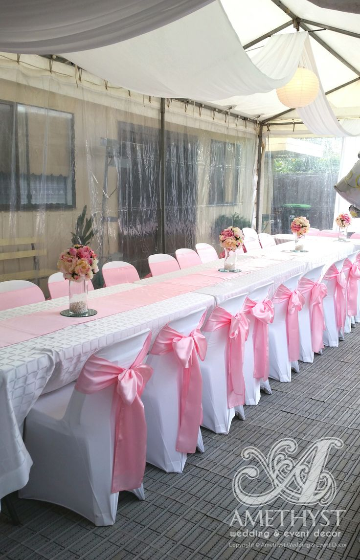 white stacking chairs plastic venus pedicure chair parts dress up regular with our stretchy lycra cover & light pink satin ...