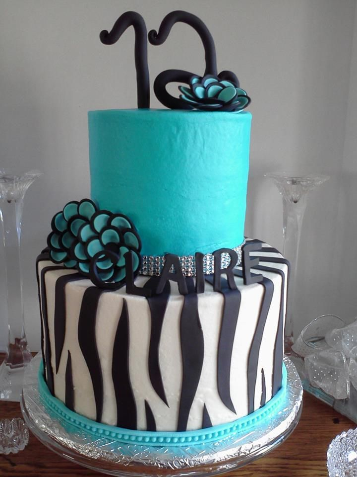 Zebra And Turquoise Birthday Cake Cakes For The Teen Set