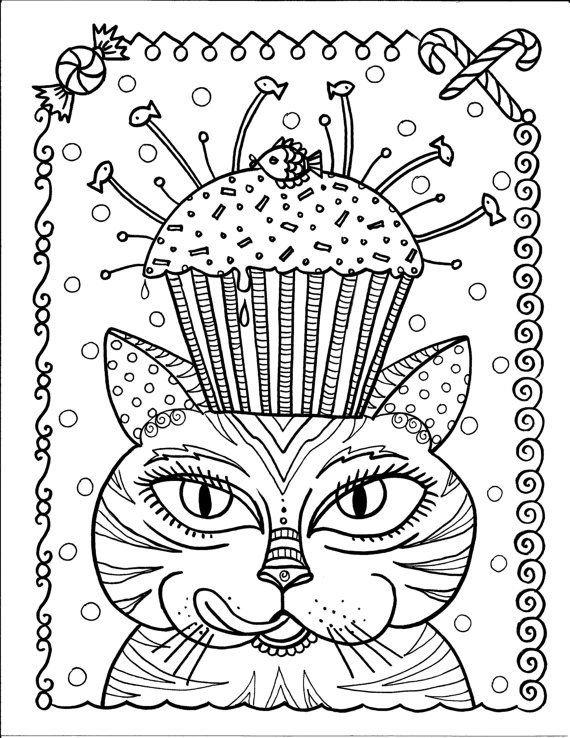 Instant Download Cat and Cupcake Art Coloring Page Cute