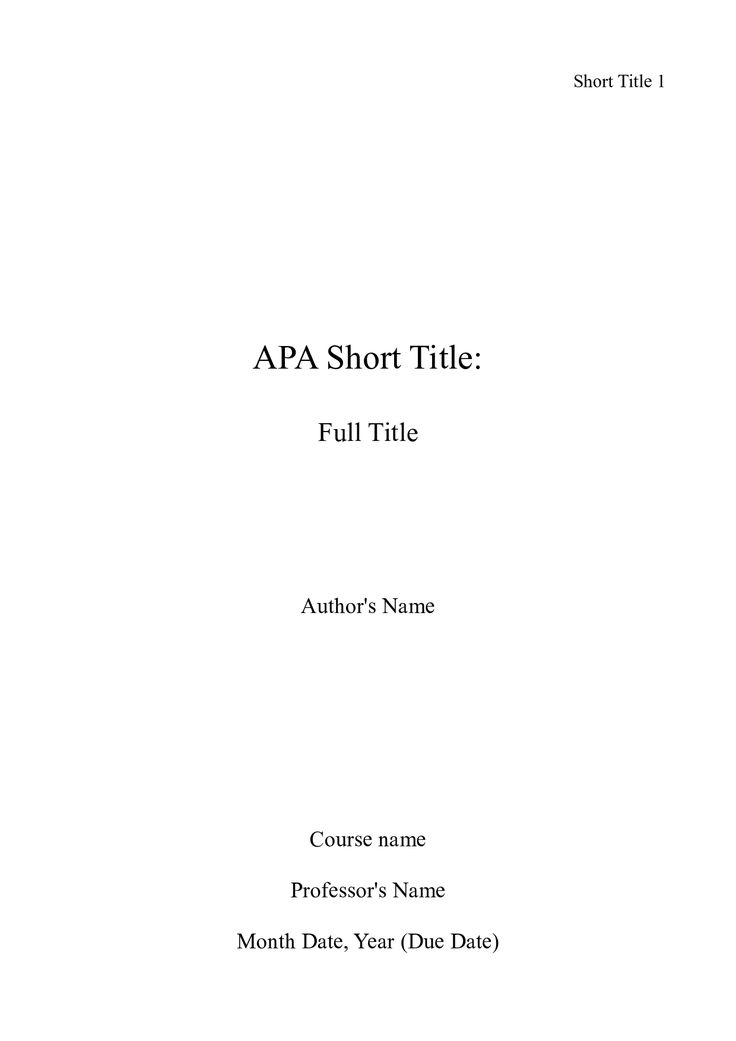cover page for research paper apa style