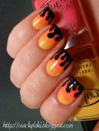 Dripping Paint Nails - Looks more like flames against a ...