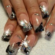 white glitter french with lace