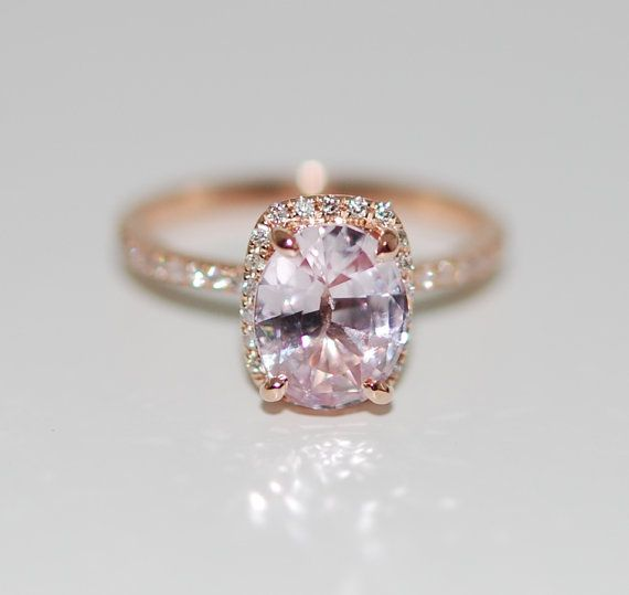Peach Champagne Sapphire Engagement Ring 14k Rose Gold