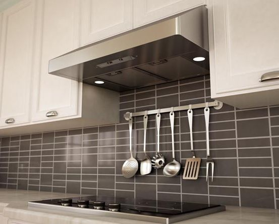 Under Cabinet Canopy Range Hood Stainless Steel White Cabinets Grey Backsplash Kitchen
