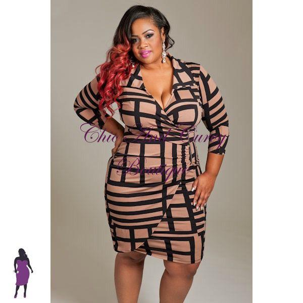 New Plus Size Career Wear Zipper Front Collar Dress In