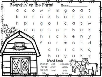 Easy Beginner Word SearchesFarm Words: barn, horse, pig