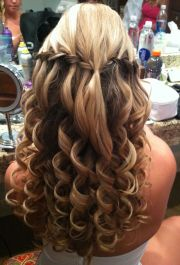 wedding prom hair. waterfall braids